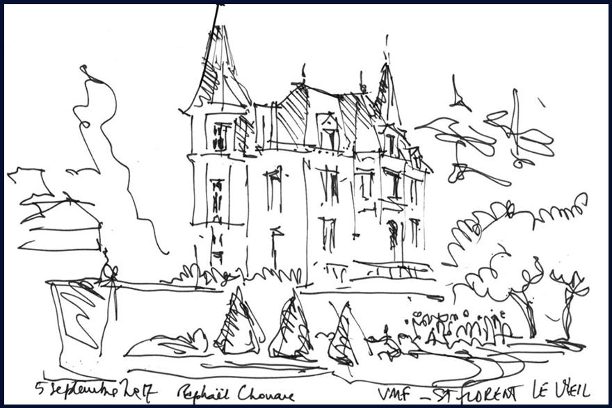 Dessin des VMF 79 lors de leur visite au château de La Baronnière, le 5 septembre 2017.