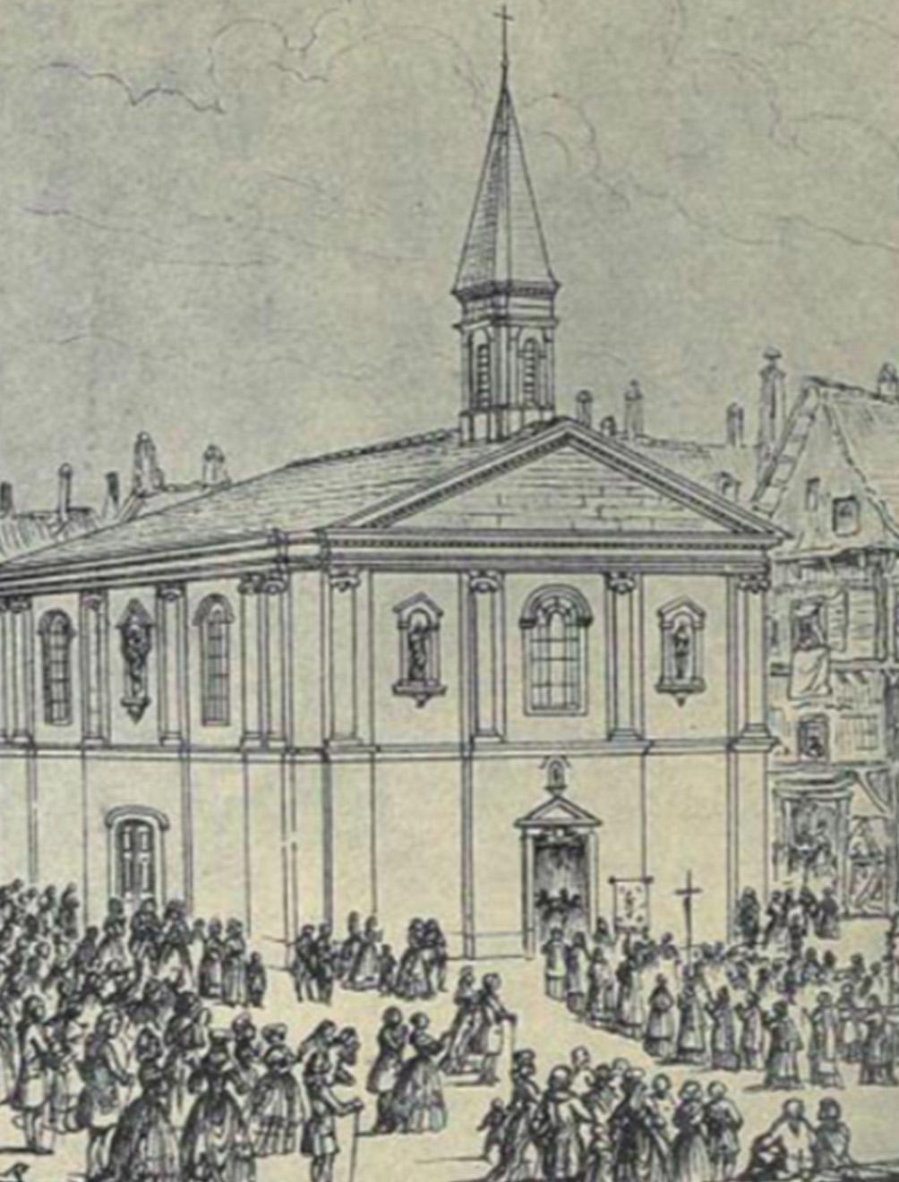 Carte postale de la chapelle Notre Dame de Bon Secours (île Feydeau) en 1778.