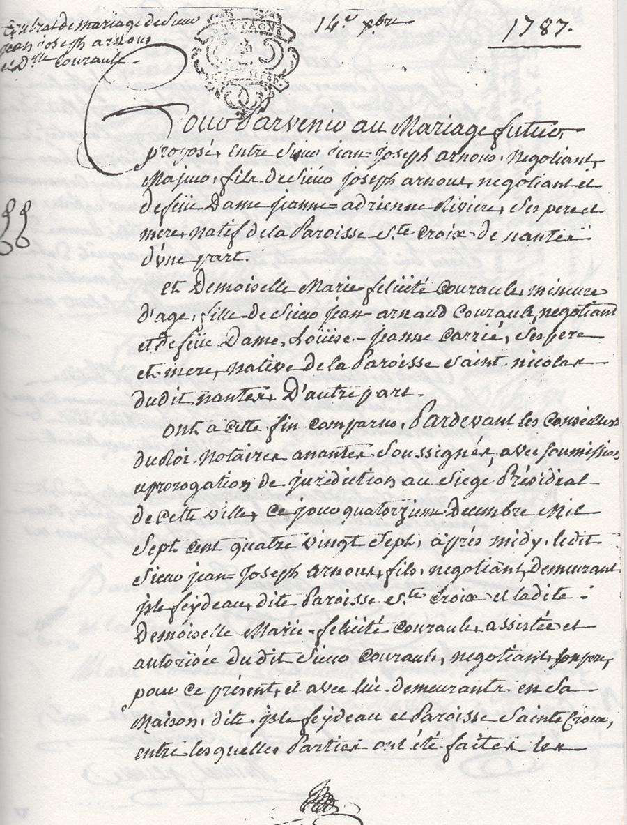 Première page du contrat de mariage de Jean-Joseph Arnous Rivière et Marie-Félicité Courault en 1787