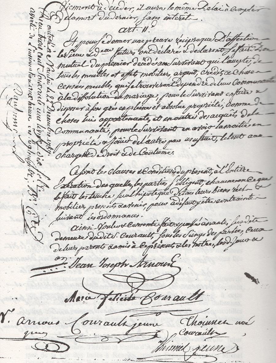 Deuxième page du contrat de mariage de Jean-Joseph Arnous Rivière et Marie-Félicité Courault en 1787