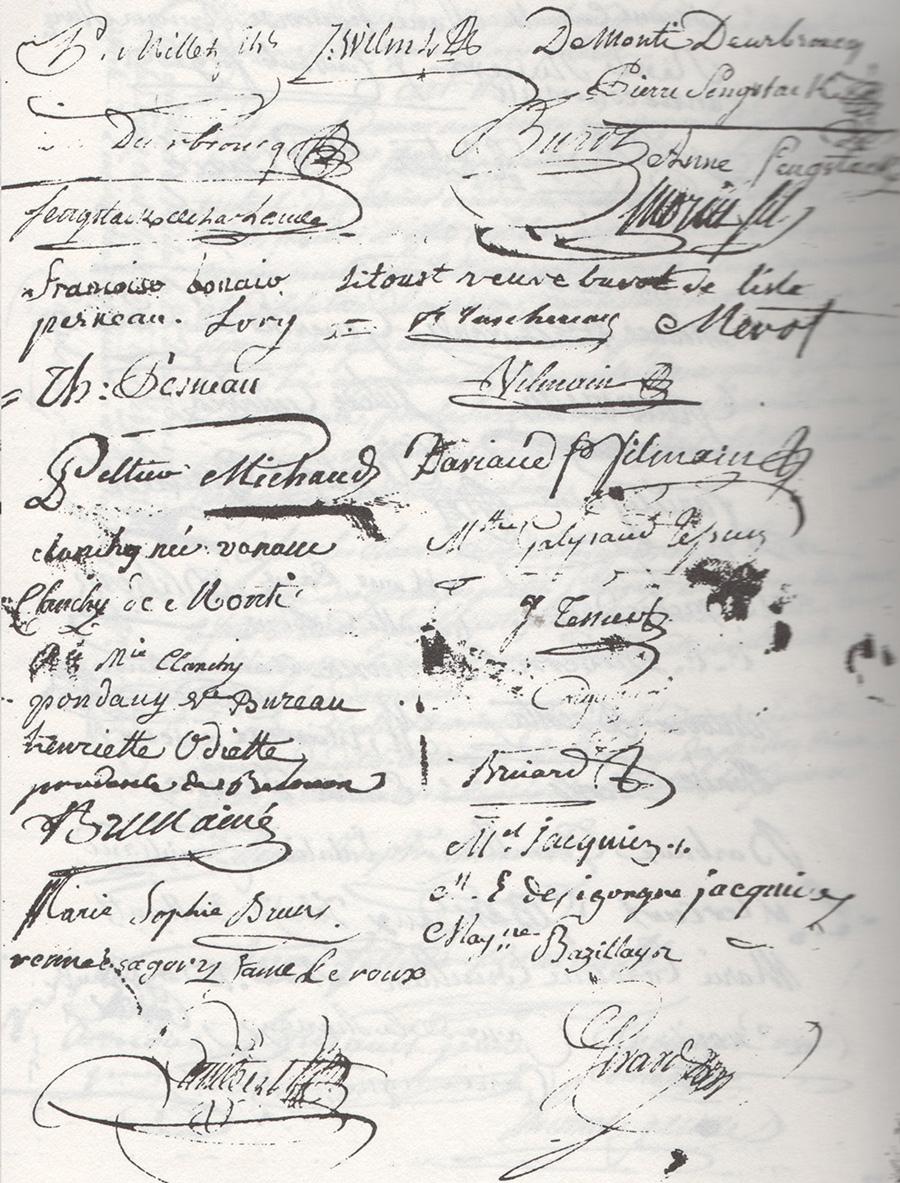 Quatrième page du contrat de mariage de Jean-Joseph Arnous Rivière et Marie-Félicité Courault en 1787