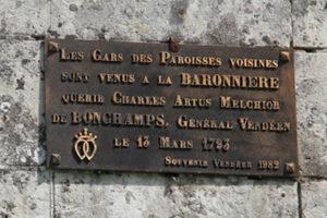Guerre de Vendée : l'ancienne plaque mémorielle à l'entrée de La Baronnière
