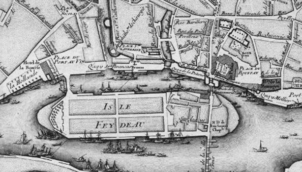 Carte de l'île Feydeau au XVIIIème siècle