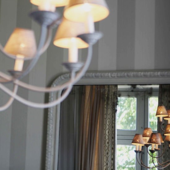 Photos du château de La Baronnière : détail du lustre de la petite salle à manger