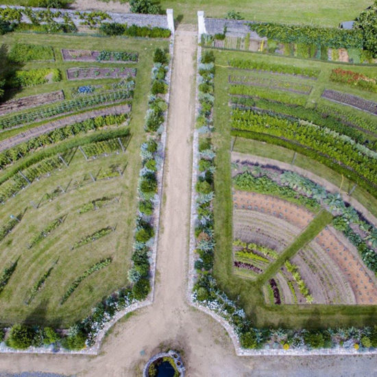Photos de La Baronnière : le jardin potager en amphithéâtre vu du ciel