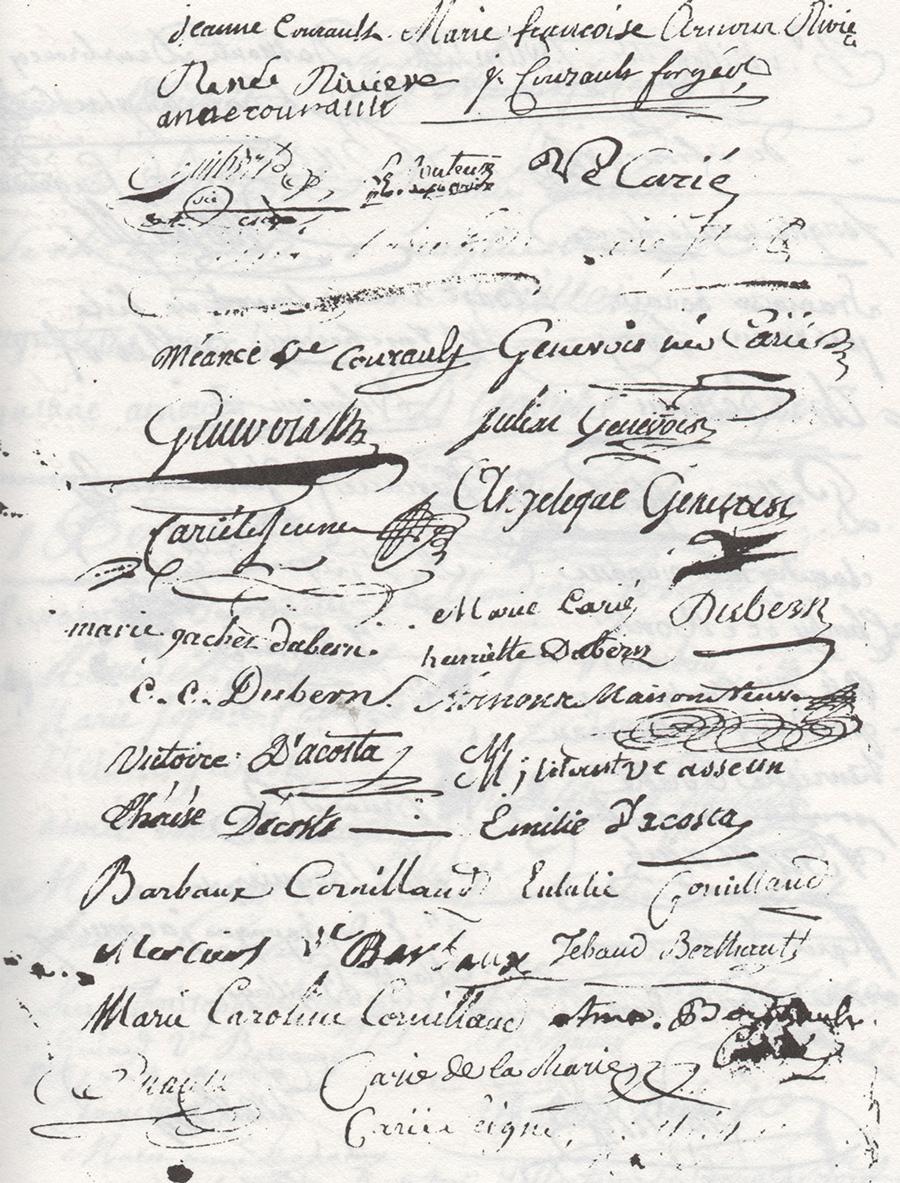Troisième page du contrat de mariage de Jean-Joseph Arnous Rivière et Marie-Félicité Courault en 1787