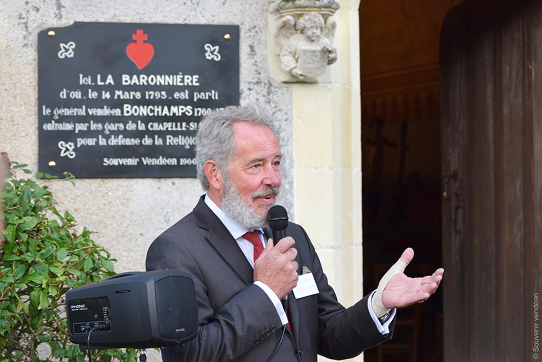 Olivier du Boucheron à La Baronnière lors de la Journée d'automne de l'association du Souvenir vendéen le 30 septembre 2017.
